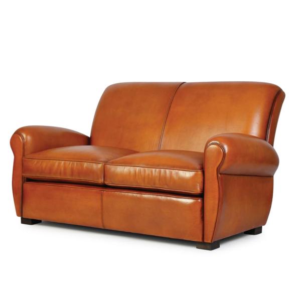 Lindbergh, canapé 2 places, cuir miel, face