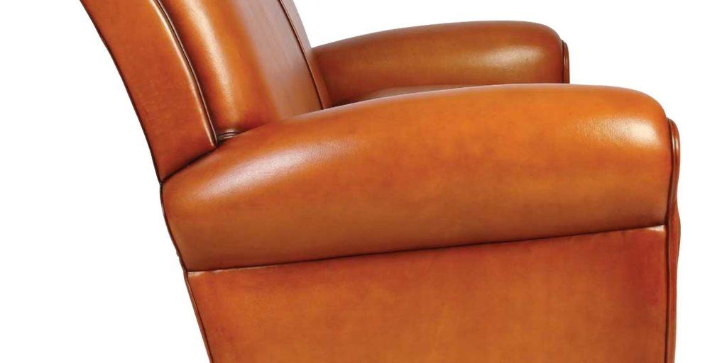 Lindbergh, canapé 2 places, cuir miel, côté
