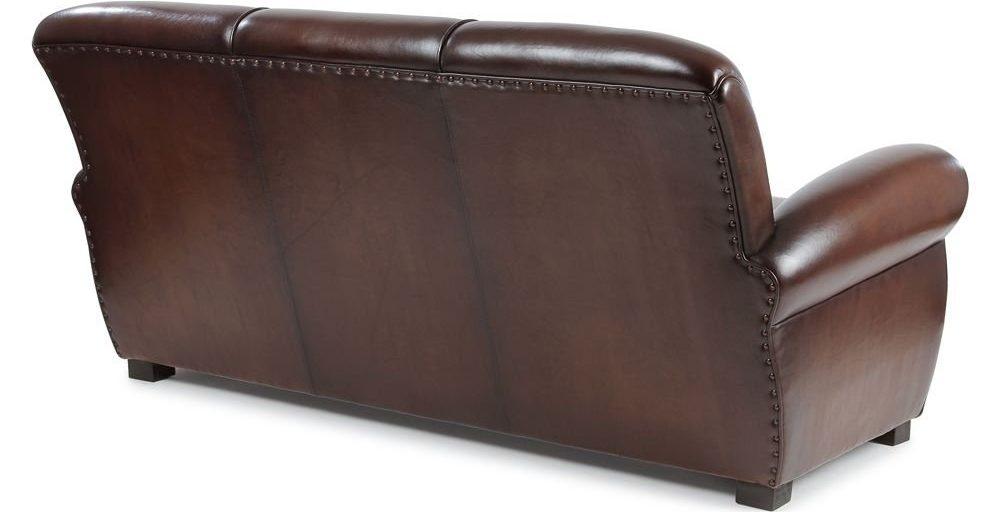 Lindbergh 1927, canapé 3 places, cuir chocolat, dos