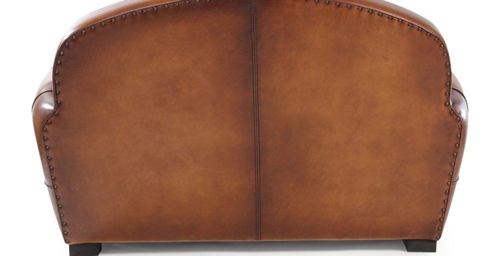 Longchamp, canapé 2 places, cuir havane, dos
