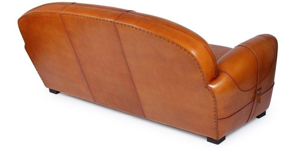 Longchamp, canapé 3 places, cuir havane, dos