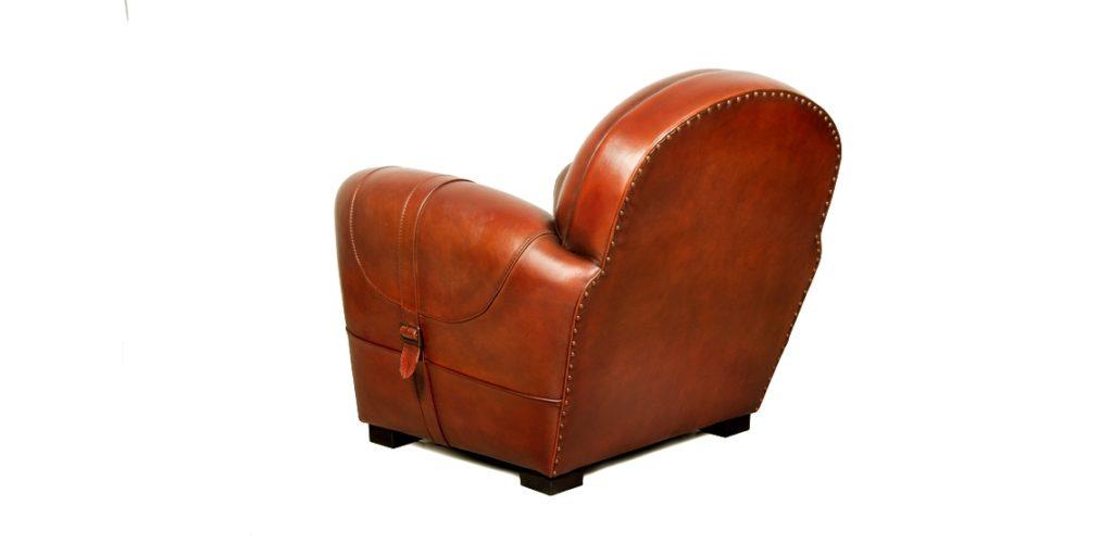 Longchamp, fauteuil club, cuir cognac, arrière