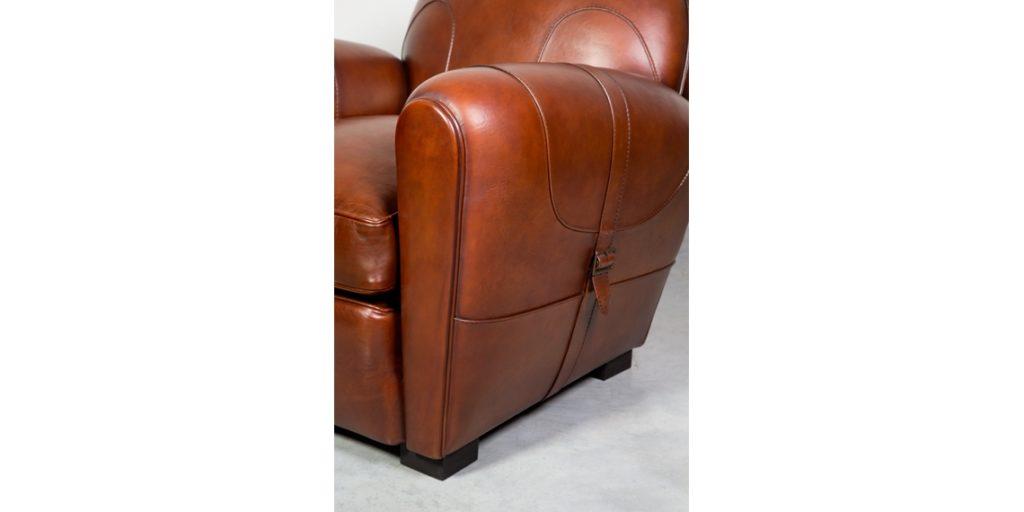 Longchamp, fauteuil club, cuir cognac, accoudoir