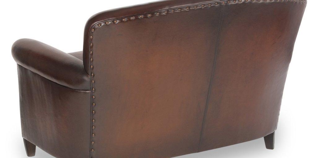 Passy, canapé 2 places, cuir chocolat, dos