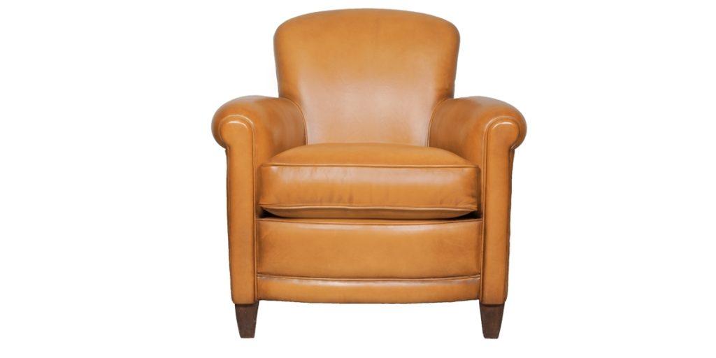 Passy, fauteuil club, cuir cognac, face