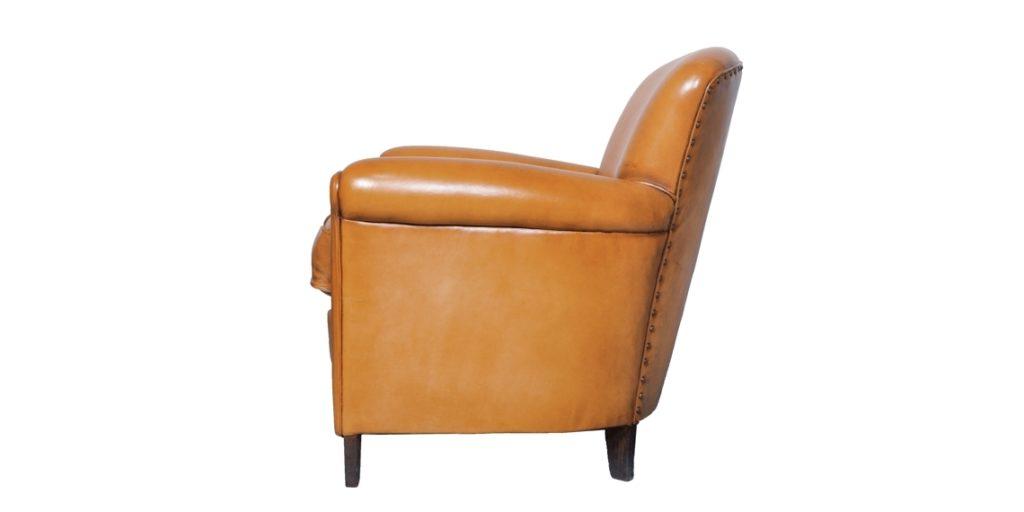Passy, fauteuil club, cuir cognac, côté