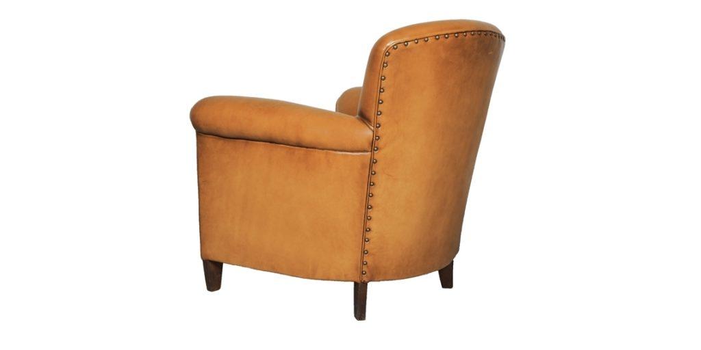 Passy, fauteuil club, cuir cognac, arrière