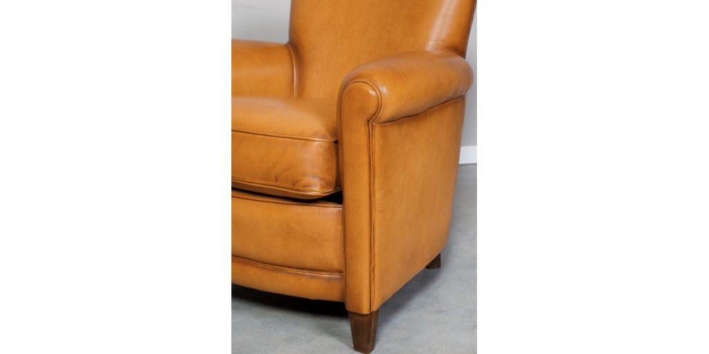 Passy, fauteuil club, cuir cognac, accoudoir