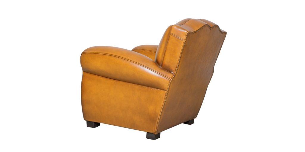 Petit Moustache, fauteuil club, cuir miel, arrière