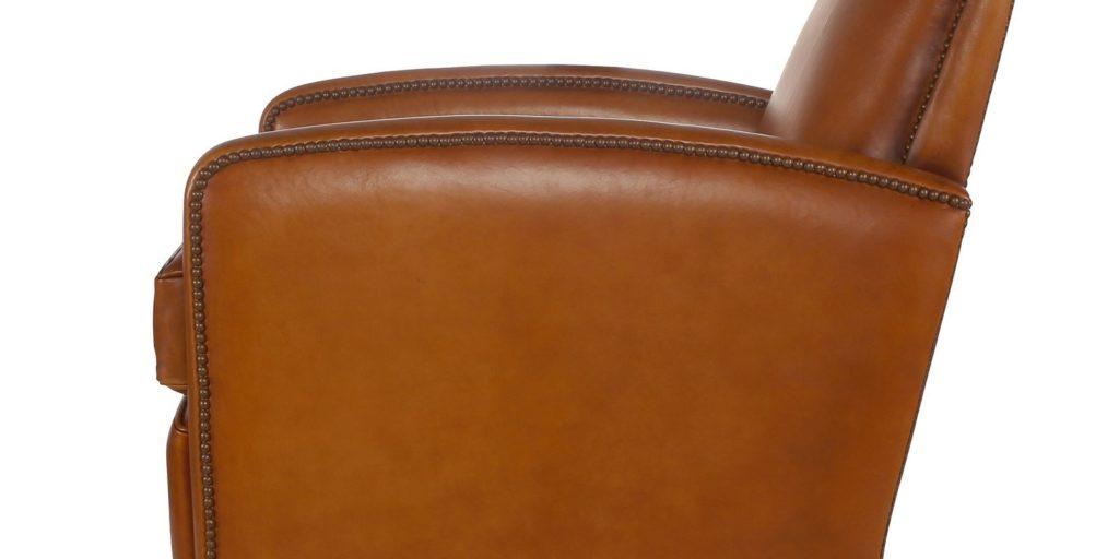 Planteur, fauteuil, cuir havane, côté