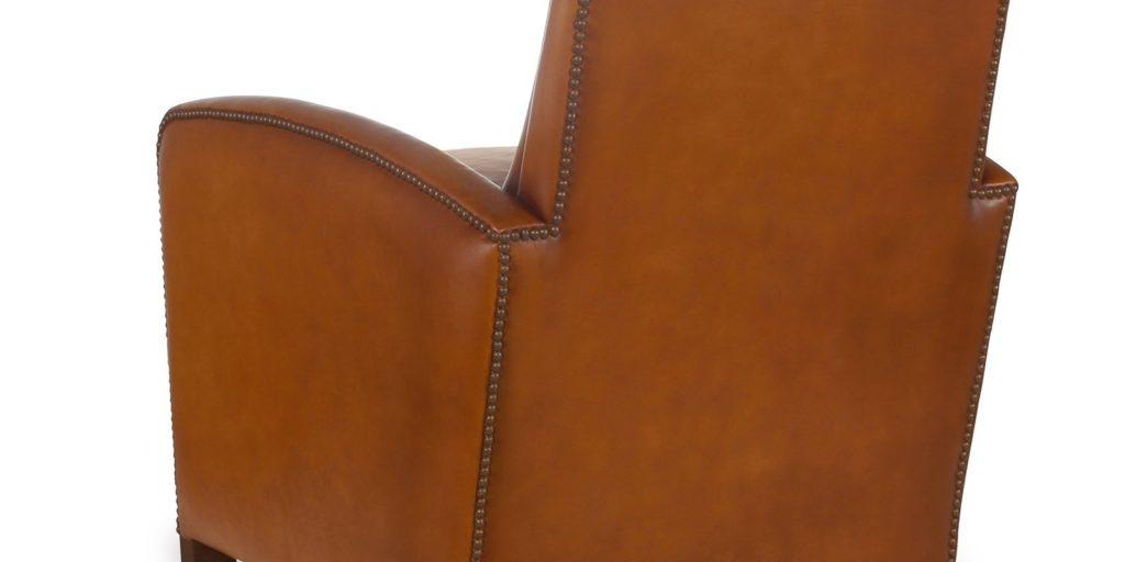 Planteur, fauteuil, cuir havane, dos