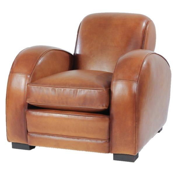 Texas, fauteuil, cuir miel, face